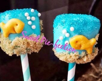 Goldfish Marshmallow Pops - Goldfish, Bubble Guppies, Nemo, Under the Sea, Nautical, Sealife, Mermaid, Little Mermaid - 1 dozen