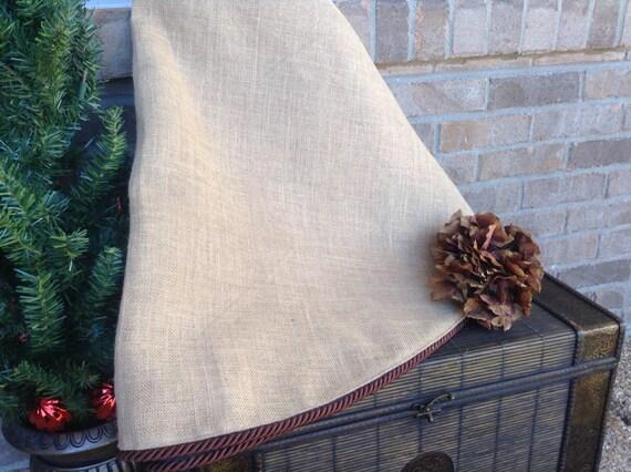 60 Inch Burlap Christmas Tree Skirt With Optional Monogram
