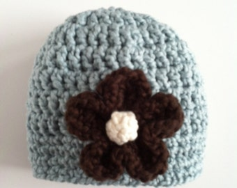 Organic cotton crocheted baby hat, Crocheted baby hat, Blue baby hat for baby girl, Crocheted baby hat with removable flower