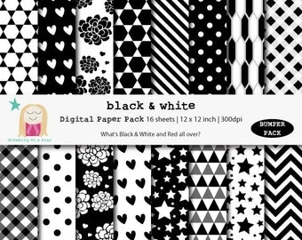 SALE Black White Digital Paper, Black White Scrapbook, Bumper Scrapbook, B&W Digital Paper, Birthday Paper, Instant Download, Comm. Use