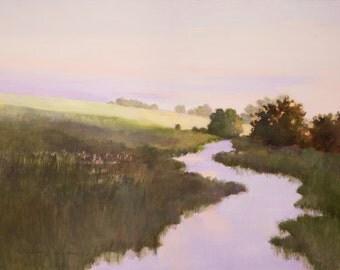 Landscape paper print river art, field scene, morning light, stream in a meadow, country, creek, impressionism, lavender, green,