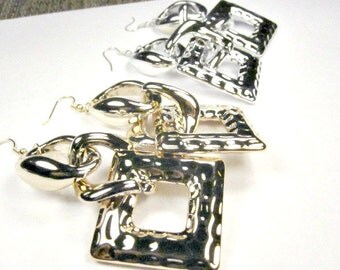 40% discount/long Earrings multi-link  , silver and gold, dangle style/cheap/fashion/affordable/