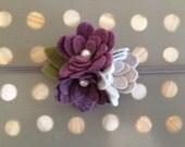 newborn headband, baby girl headband, toddler headband, felt flower headband, hair clip, photography prop, purple and gray, grey