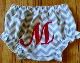 MONOGRAMMED Ruffle Bloomers Butts Diaper Cover ~ Baby 1st Birthday Personalized Embroidery Available! Chevron Ruffle bottoms! Zebra Panties