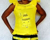 Yellow And Black African Dress, African Black And White Wrap  Skirt And Bazin Blouse, Two Piece African Dress, African Two Piece Long Dress