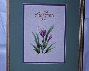 Saffron.  Crewel stitched interpretation of the crocus producing saffron.