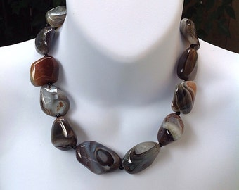 Botswana Agate necklace. Banded Agate Necklace. Chunky Agate necklace. Fall necklace.