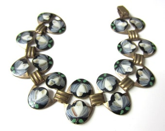 Beautiful 30s 40s Hand Painted Copper Link Bracelet with White Magnolias