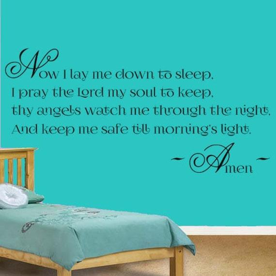 items similar to bedtime prayer vinyl wall art sticker decal children 39 s bedroom nursery on etsy On bedroom prayer
