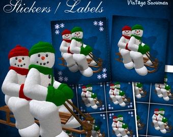 Two Snowmen on Sledge Stickers - Digital Download