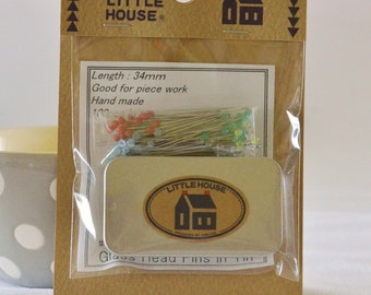 Little House Glass Head Pins in Tin