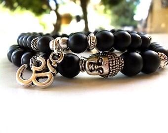 Buddha Om bracelets, Buddha bracelet, Om bracelet, Set of 2 Om Buddha bracelets, Agate matte bracelets, Yoga bracelet, Meditation bracelet