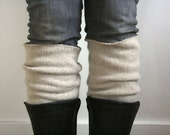 The Upcycled Boot Cuff / 100% Recycled Wool / Beige Cream Oatmeal / Womens Legwarmer / Handmade Boot Toppers / Felted Wool /