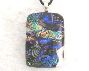 Dichroic Glass Necklace, Dichroic Glass Pendant, Kiln Fired Glass Necklace, Art Glass Jewelry, Dichroic Glass Jewelry, Fused Glass,  D112