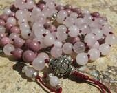 Heart Chakra Mala. Rhodonite and Rose Quartz Knotted Mala. 8mm Mala, 108 beads. Healing, Love, first aid, forgiveness. Japa mala, prayer