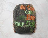 My dad can out hunt your dad Embroidered OS Hybrid Fitted Cloth Diaper (Orange CV) Serged