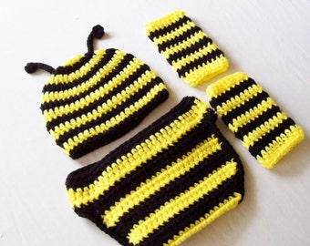 Baby Bumble Bee Set - Hat, Leg Warmers, Diaper Cover - 0 to 3 Months, 3 to 6 Months, 6 to 12 Months - Black, Yellow Stripe - Bug