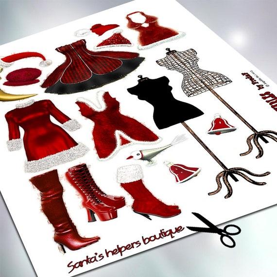 diy weihnachtsfrau bastelbogen collagesheet zum ausdrucken. Black Bedroom Furniture Sets. Home Design Ideas