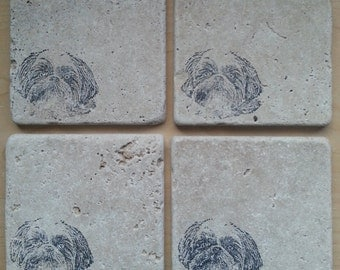 Natural Tumbled Marble Stone Shih Tzu Coasters