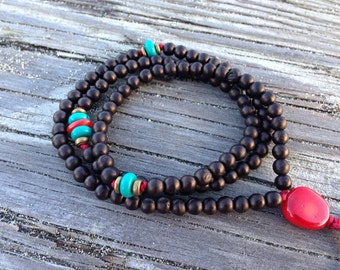 Genuine Turquoise and Coral and Bone Adjustable Prayer Bead Mala  Wrap Bracelet B114
