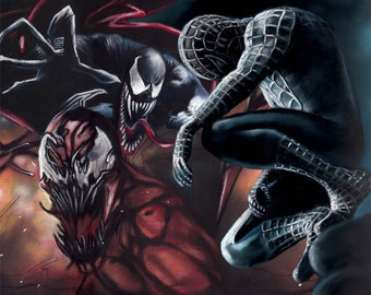 "spiderman, venom, carnage painting, poster, print, marvel poster, drawing by artist eugene, 16""x20"",22.4""x28"",30""x40"""