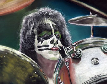 """The Kiss hard rock group painting, Peter Criss poster, print, Group Kiss, reproduction, 16""""x20"""".22.4""""x28"""""""