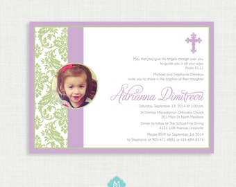 Printable Baptism Invitation - Lavender Picture Invite - Christening, First Communion, Dedication, Baby Blessing