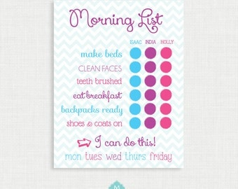 Printable Chore Chart- Morning Chart - Chevron Chore Charts - Weekly Chore Chart - Children Chart - Routine charts-  Reward Chart