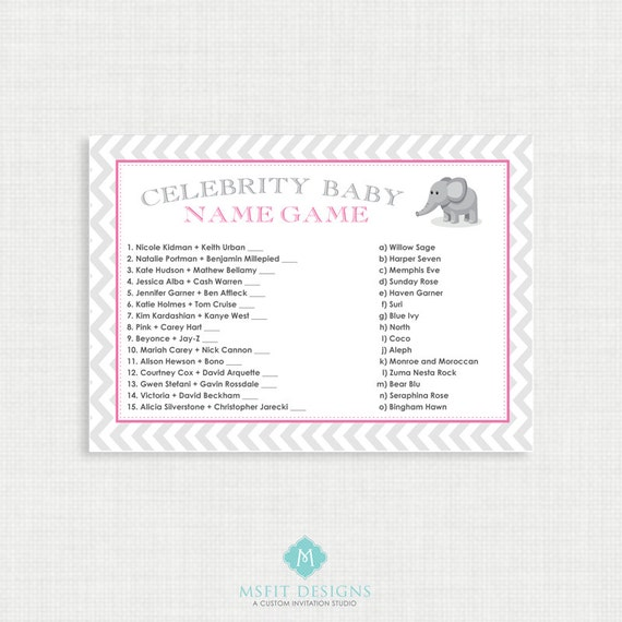 Printable Baby Shower Games -Baby Shower Games - Celebrity Baby Game - Shower Games - Instant Download