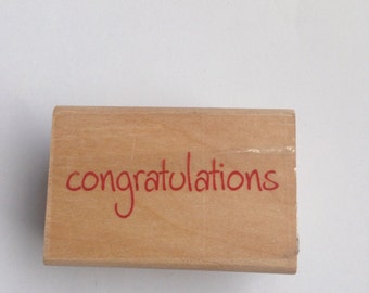 New Wood Mounted Rubber Stamp For Scrapbooking & Rubber Stamping...Congratulations