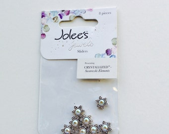 New-8 pc. Swarovski Crystallized Elements by Jolee's Jewelry Metal Sliders Small Star in Crystal AB