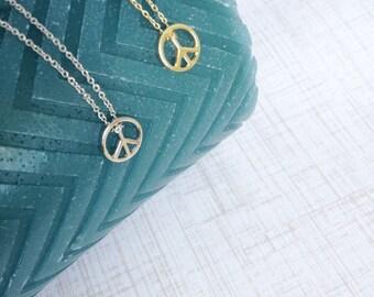 Gold Peace Pendant Necklace