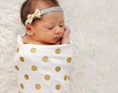 Real Gold Glitter Polka Dot Swaddling Blanket - All Organic Cotton