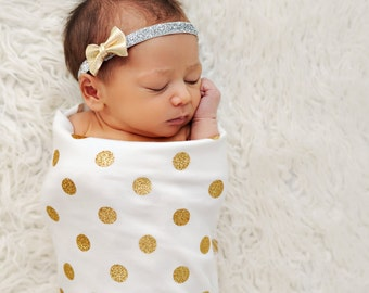 Real Gold Glitter Polka Dot Swaddling Blanket - All Organic Cotton