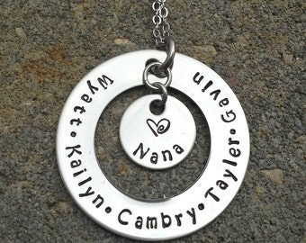 Handstamped Personalized Mom, Grandma, Nana, Necklace with up to seven names