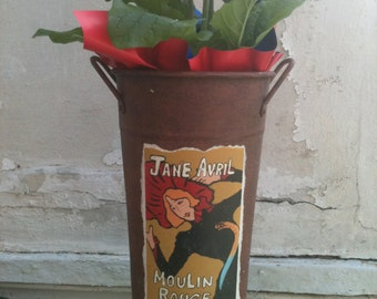 Toulouse Lautrec Jane Avril Flower Bucket, French Flower Tube with Toulouse Lautrec Poster, French Market Flower Bucket, French Art Nouveau