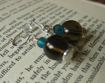 Brown glass and turquoise sea glass bead earrings on silver-plated wire