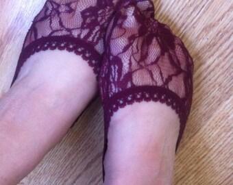 BURGUNDY  LACE SOCKS, Lined in Lace Socks in Beige / beige  lace sock , foot liner, Lace Peep Socks,