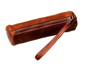 vintage --- leather pencil case--- Leather Pencil Case or Cosmetic---brown-leather handmade