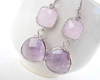 Pink and lavender earrings Silver ice pink bridesmaids earrings Pink and lavender bridesmaids jewelry Lavender and pink earrings