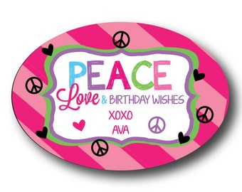 Peace/Love Personalized Children's Gift Stickers