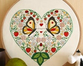 Cross stitch pattern, wedding needlepoint, butterflies and flowers embroidery