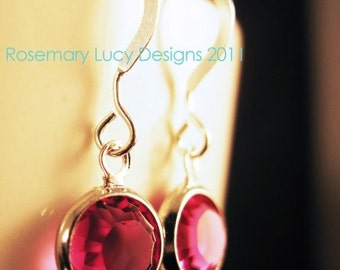 dot drop Earrings sterling & Swarovski Crystals Handmade Rosemary Lucy Cosentino  jewelry women