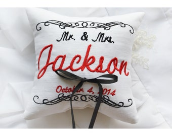 Mr & Mrs Ring bearer pillow , wedding pillow , wedding ring pillow, Personalized Custom embroidered ring bearer pillow (R20)