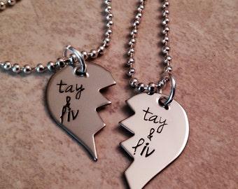 Set of 2 broken heart necklaces best friends hand stamped jewelry