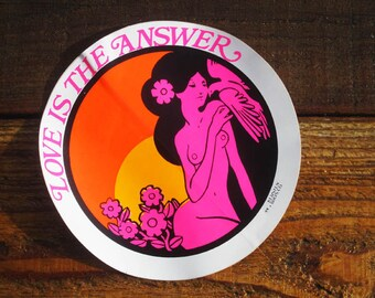 Vintage Original 70's Hawaiian Love Is The Answer Lg Surfing Sticker Decal LAST ONE
