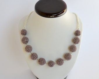 Lawender - Beaded Bead Necklace  Collier