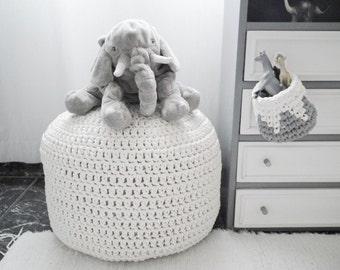 White /Off White Pouf-Large Pouf Ottoman-Floor Cushion-Floor Pillow-Nursery Pouf-Foot Stool-Floor Pouf-Pouffe-Kids Pouf-Knit Pouf-Floor Pouf