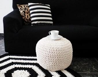 Off White/White Ottoman Nursery Foot stool Pouffe - Ivory/White Pouf Ottoman - Nursery Decor -Kids Todllers Floor Cushions Pouf - Home Decor