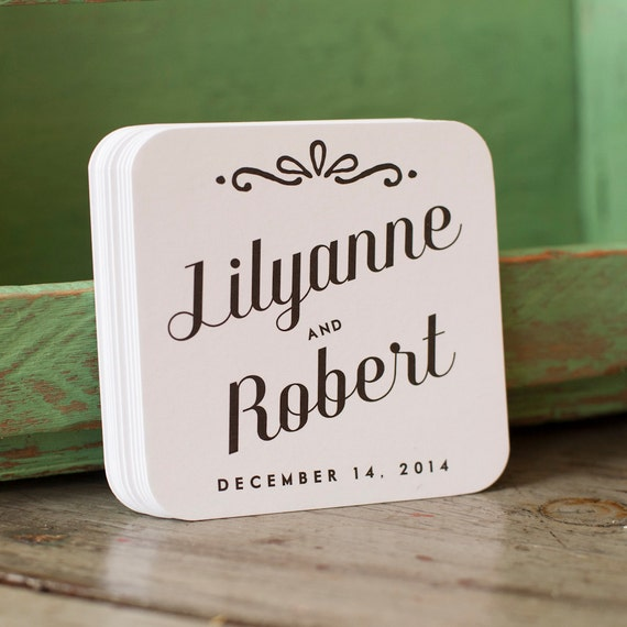 Personalized wedding coasters - wedding favors,  wedding, coasters, favors, bridal shower, bridal favors, reception, set of 50